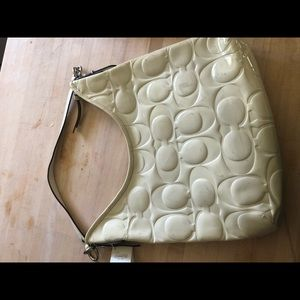 Coach white patent leather hobo bag